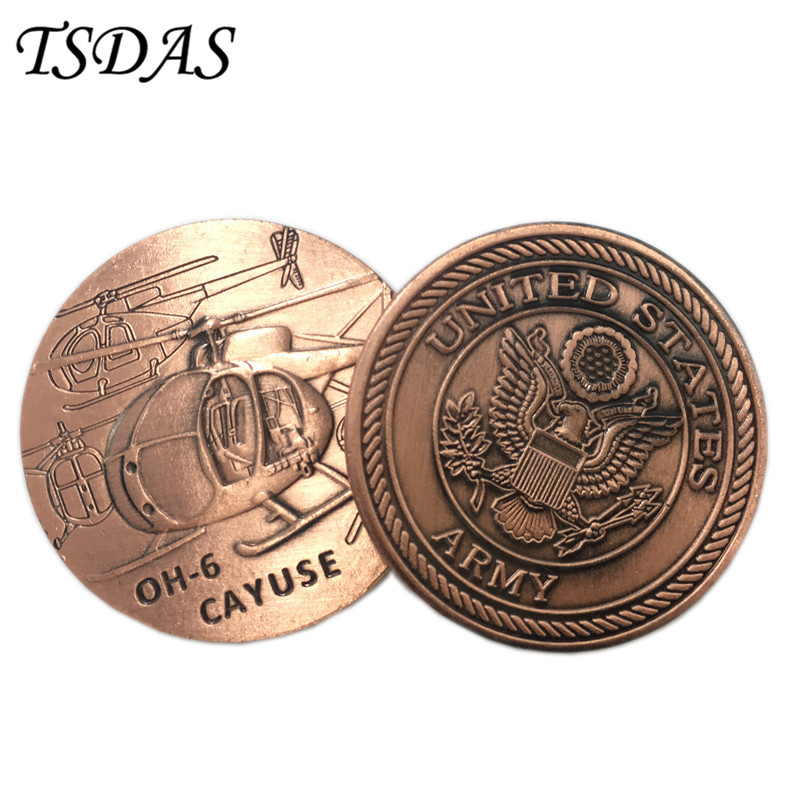 American OH-6 CAYUSE Helicopter Challenge Coin World War Army Metal Token Coin Military Bronze Plated Souvenir Coin